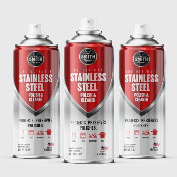 Cleaner design with the title 'Aerosol can label for a stainless steel polish and cleaner'