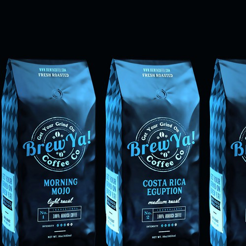 Artistic packaging with the title 'Packing Brew Ya! Coffee Co.'