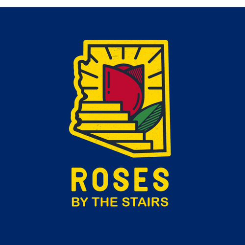 Stair design with the title 'Roses By The Stairs'