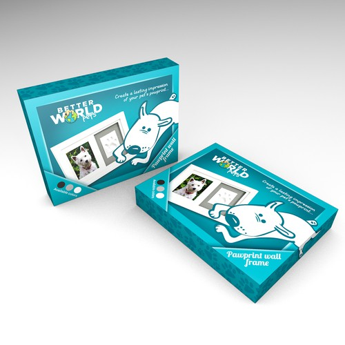 Dog packaging with the title 'Wall-frame package design'