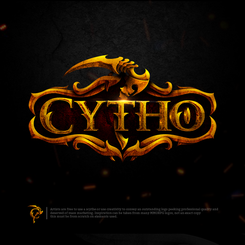 "Gamer design with the title 'Cytho A play on the word ""scythe"" that suggests power, strength, and efficient tools.'"