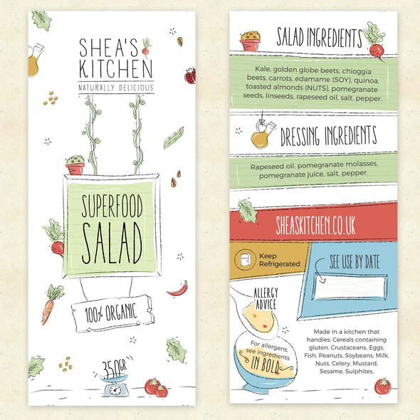Clean label with the title 'Packaging label for a food brand'