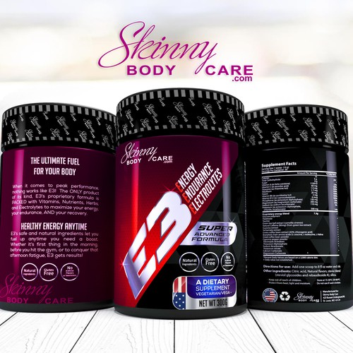Supplement label with the title 'skinny body care'