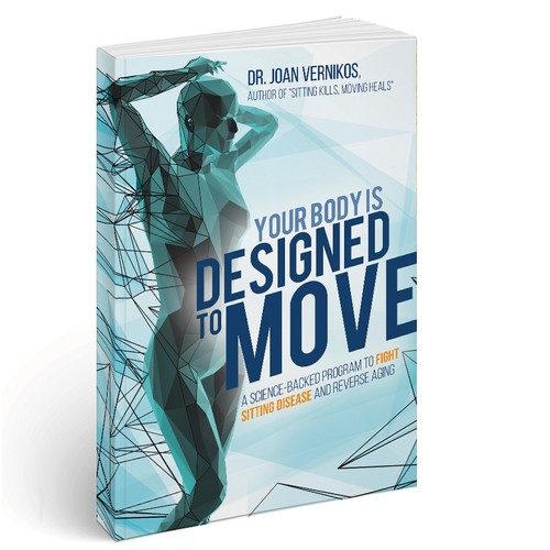 Blue book cover with the title 'Designed to Move - Cover design'