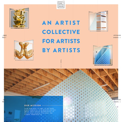 Artistic website with the title 'Modern Elegant concept for an Artist Collective'