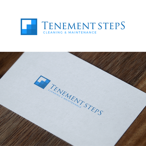 Cleaning company logo with the title 'Tenement Steps Logo'