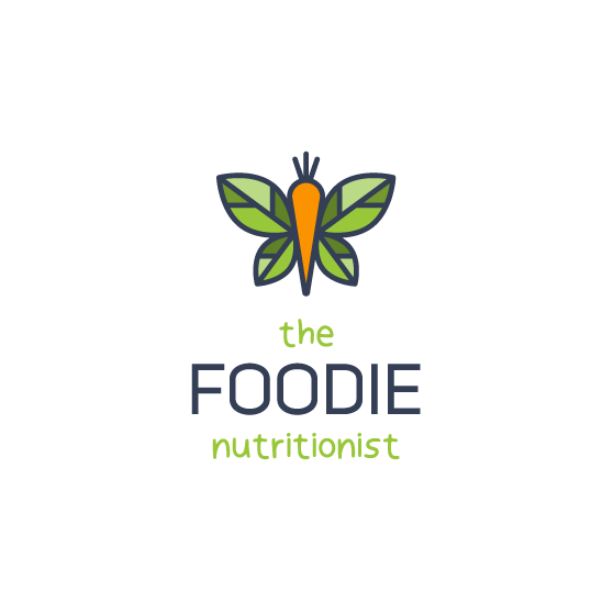 Butterfly logo with the title 'Logo for The Foodie Nutritionist'
