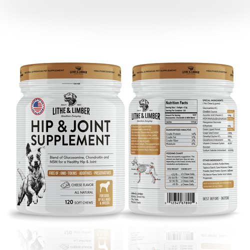 Whey packaging with the title 'Hip & Joint Supplement'