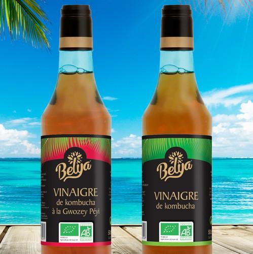 Caribbean design with the title 'Elegant Labeldesign Caribbean Vinegar'