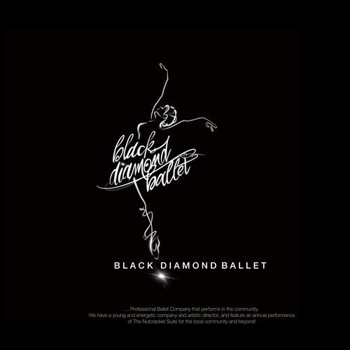Ballerina logo with the title 'Winning design for Black Diamond Ballet'