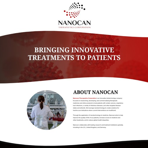 Medical design with the title 'Landing Page Design for Nanocan Therapeutics Corporation'
