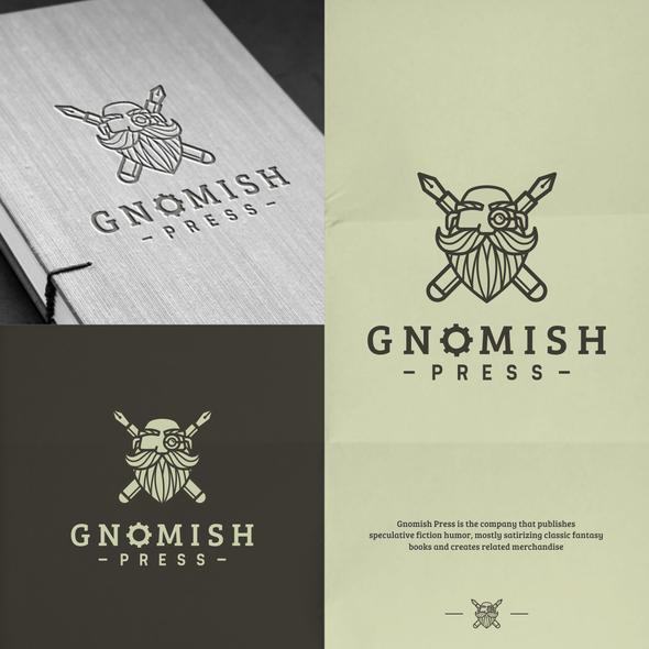 Press logo with the title 'Gnomish Press Logo Design'