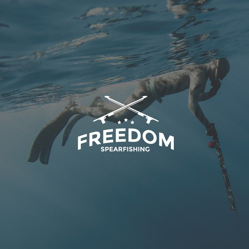 Spear logo with the title 'Freedom Spearfishing'