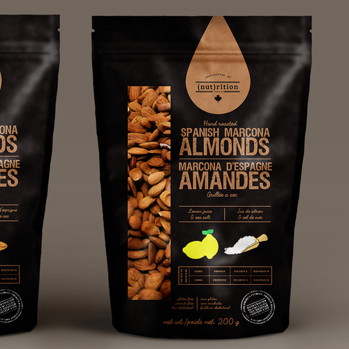 Bag label with the title 'Spanish Almonds Pack'