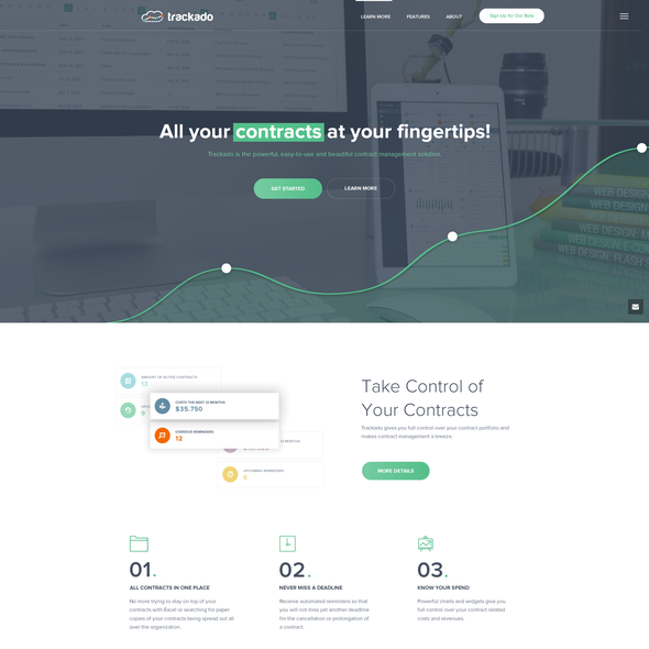 Landing page website with the title 'Saas Contract Management Website'
