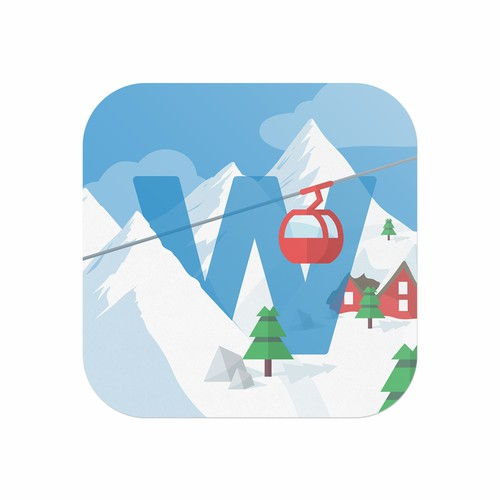 Ski logo with the title 'Logo and Icon Design for Winter-World app'