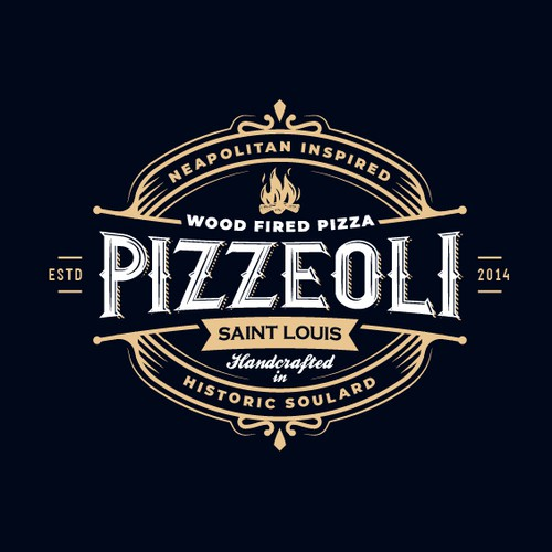 Frame logo with the title 'Logo for Pizzeoli pizzeria '