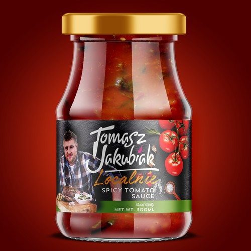 Sauce label with the title 'Packaging Design for Tomasz Jakubiak'