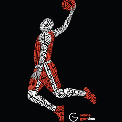 Text design with the title 'Typography Basketball Player'
