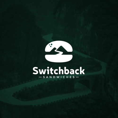 Burger logo with the title 'Switchback Sandwiches Logo Design'