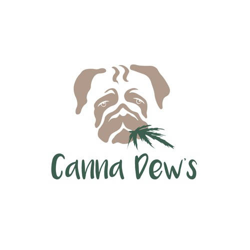 Pug logo with the title 'Playful concept for chew-able cannabis product '