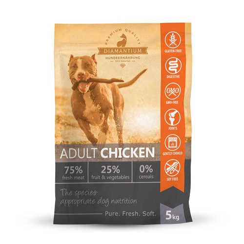 Dog treat packaging with the title 'Modern package design concept for Diamantium dog food'