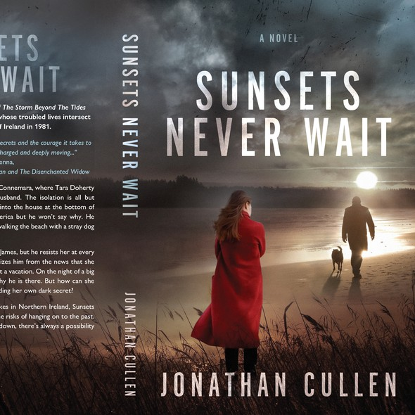 Moody design with the title 'Sunsets never wait'