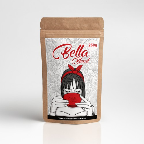 Drawing packaging with the title 'Packaging for Bella Blend '