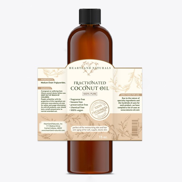 Oil label with the title 'Coconut oil label'