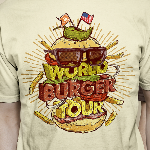Outstanding design with the title 'Burger Tour Tshirt'