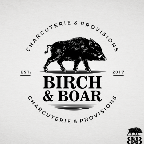Butcher design with the title 'Birch & Boar'