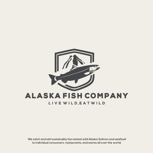 Salmon logo with the title 'Bold Logo For Alaska Fish Company'