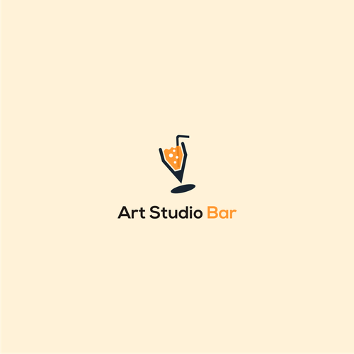 Wine glass logo with the title 'Art Studio Bar'