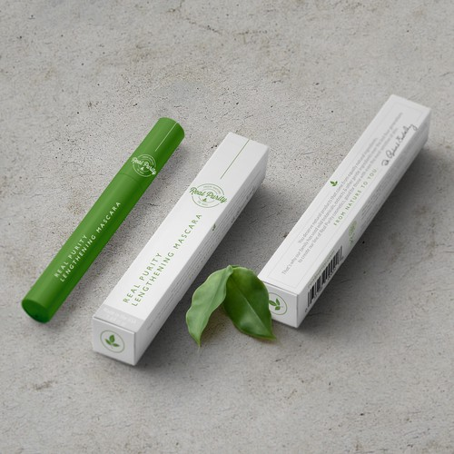 Non-GMO packaging with the title 'Chic, Classic Design For Natural, Luxury Mascara Box'