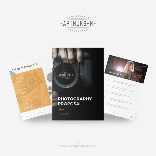 Proposal design with the title 'Arthurs H photography proposal'