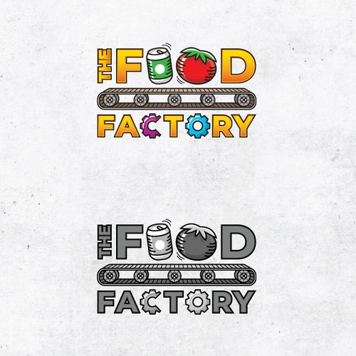 Factory logo with the title 'Playful logo for a foodie computer game'