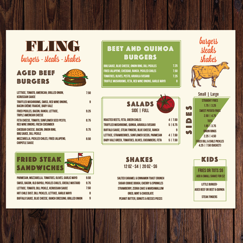 Product catalog design with the title 'Clean, modern menu design for fast casual restaurant/craft brewery '
