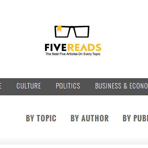 Bookmark logo with the title 'Create a website logo for www.FiveReads.org'