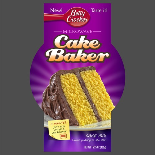 Cake packaging with the title 'Betty Crocker Cake baker'