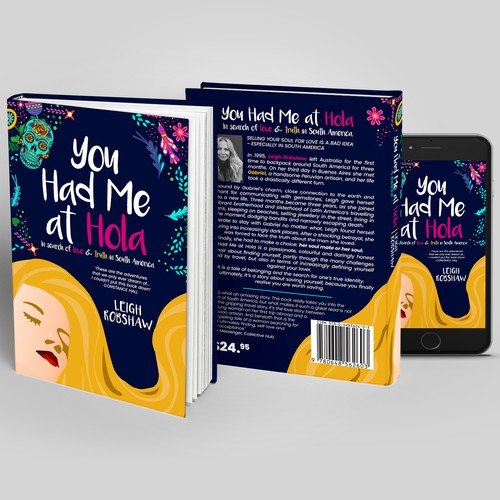 Girly design with the title 'Design a kick-arse book cover for a memoir set in South America and Mexico in the 1990s'