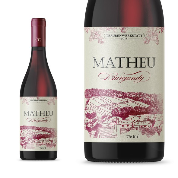 Burgundy design with the title 'Wine label'