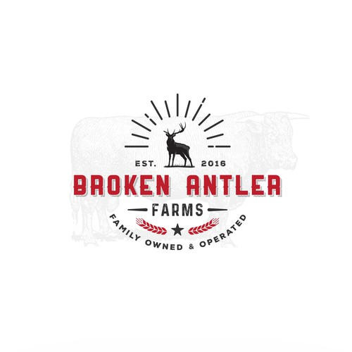 Antler logo with the title 'Logo concept for family owned cattle farm'