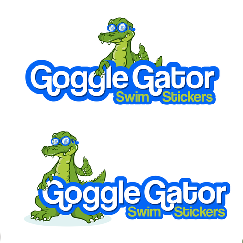 Summer logo with the title 'Goggle Gator Swim Stickers'