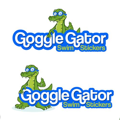 Pool logo with the title 'Goggle Gator Swim Stickers'