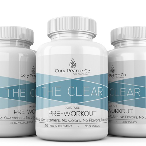 Pre-workout label with the title 'Create a Luxury Nutritional Supplement Label.'