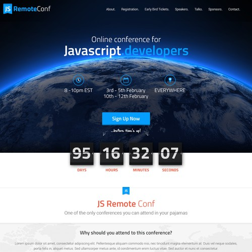 One page design with the title 'Website for an online conference for Javascript developers'