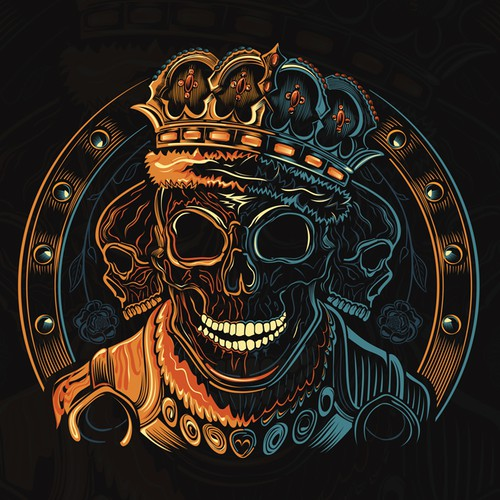Pink and orange design with the title 'Cool Skull Design for Men's TShirt'