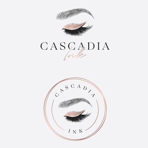 Eyelash logo with the title 'Cascadia Ink'
