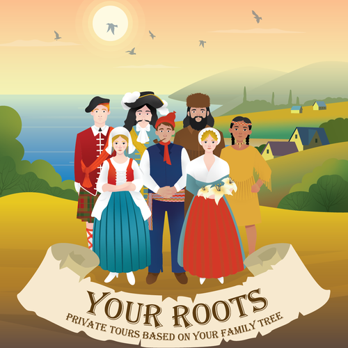 Family tree design with the title 'Your Roots- Poster Design entry'