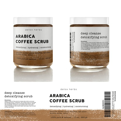 Scrub design with the title 'Coffee Scrub Packaging'